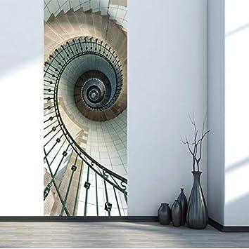 Dcgddp 77x200cm 2pcs Set Creative Spiral Staircase Door
