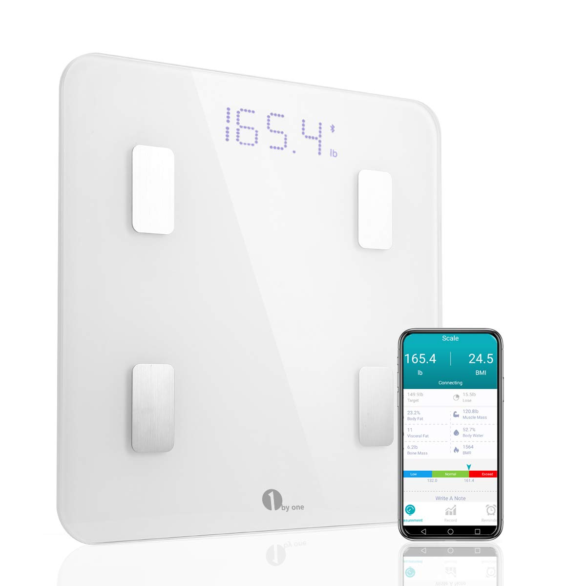 1byone Bluetooth Smart Body Fat Scale with iOS and Android App, Accurate Health Metrics, Body Composition & Weight Measurements, White