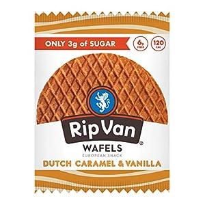 Rip Van Wafels Dutch Caramel & Vanilla Stroopwafels – Healthy Snacks – Non GMO Snack – Keto Friendly – Office Snacks – Low Sugar (3g) – Low Calorie Snack – 12 Count (Packaging May Vary)