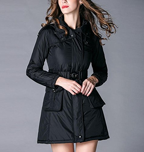 Jacket High Jacket Down Women'S Belt Long Slim Warm Snow Coat Winter Zipper Necked Hooded BLACK Cotton Jacket Pocket Windproof Of L The Section Rpqwzp