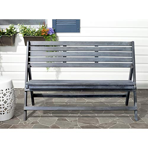 Safavieh Outdoor Collection Luca Ash Grey Folding Bench