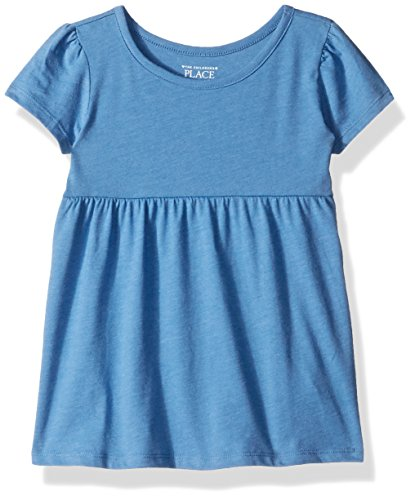 The Children's Place Baby Girls' Short Sleeve Basic Tee, Morningsky, 3T