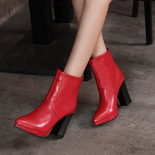 AIYOUMEI Womens Pointed Toe Block Heel Booties Back Zipper Autumn Winter Solid Ankle Boots Red 34nwFWQjfX