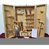 Natural Wood Full Size Tool Box with Tools Meant for Children Kids Carpenter Set