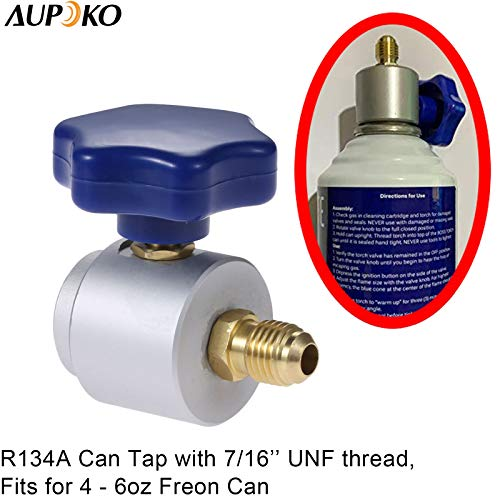 Aupoko R134A Self-Sealing Can Tap, R-134A Can Tap Dispensing, 7/16''- 28UNF  Female Thread Valve Tool Bottle Opener, 1/4'' SAE Male Connect, Fits for