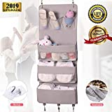 Over The Door Organizer Closet Bathroom Organizer and Storage Baby Nursery Hanging Storage Large Pockets Wide Organzier Washable Oxford Fabric Metal Hooks Wall Mount Rack for Diaper,Cloth,Toys(Grey)