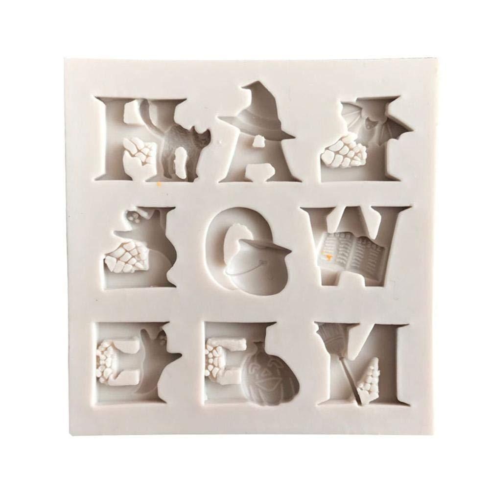 chupete encaje Chocolate Moldes de reposter/ía DIY silicona molde molde de silicona para Fondant Halloween alfabeto pastel molde para caramelos