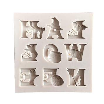 Moldes de repostería DIY silicona molde molde de silicona para Fondant Halloween alfabeto, pastel molde para caramelos, chupete, encaje, Chocolate