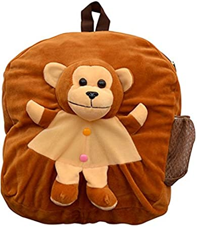 Blue Tree School Bag for Kids/Girls/Boys/Children Plush Soft Bag Backpack Monkey Cartoon Bag Gift for Kids Cartoon Toy Cute Birthday Return Gift/ School Bag/ Travelling Carry Picnic Bag/ Teddy Bag For Children (Brown_3 to 5 Year)