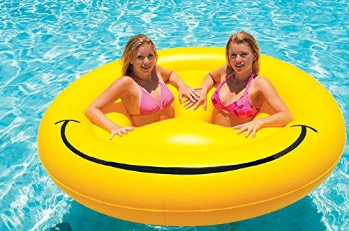 "Swimline Smiley Face Fun Island Swimming Pool Float 72"" B..."