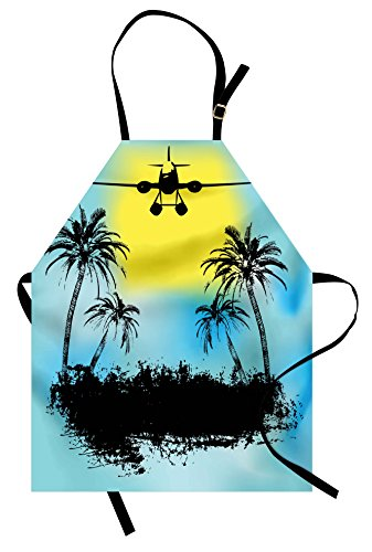 Lunarable Vintage Airplane Apron, Topical Island Tree Silhouettes Exotic Getaway Advertisement, Unisex Kitchen Bib Apron with Adjustable Neck for Cooking Baking Gardening, Pale Blue Yellow -