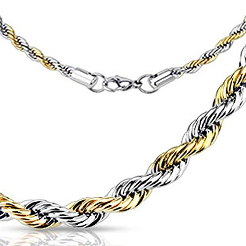 Width of 3MM, Stainless Steel Two Tone Twist Rope Chain Link Necklace with Trigger Clasp, Necklace Length: 21.97