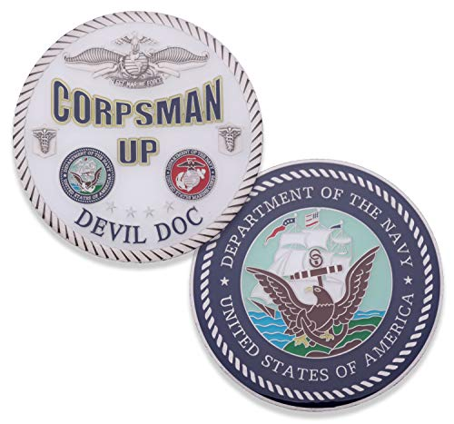 (Navy Corpsman Challenge Coin - Corpsman Up Navy DOC Military Coin - Officially Licensed Challenge Coin - Designed By Military)