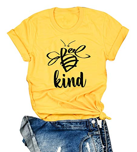 Be Kind Shirt Women Tshirt Casual Short Sleeve Summer Tops Christian T-Shirt Blouse Tee Tops (XX-Large, Yellow)