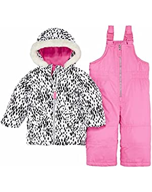 Carters Infant Girls 2 Piece Snow Bibs & Winter Coat Set Animal Print Snowsuit