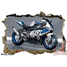 3D Effect Blue/Silver BMW S1000RR Motorcycle/Bike Decal - High resolution Print Removable/DIY Wall Stickers for Walls,Ceiling, Cabinets, Closets or Home Decor