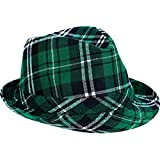 "amscan St. Patrick's Day Plaid Fabric Fedora Hat | Party Accessory, 5 1/8"" x 10"""