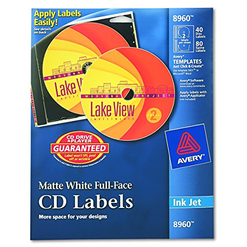 Avery CD Labels, White Matte, 40 CD Labels and 80 Spine Labels (8960) (Cd Face Full Labels)