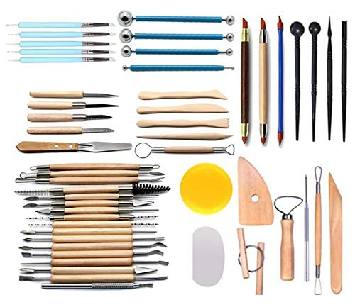 51pcs Clay Sculpting Tools Pottery Carving Tool Set Pottery & Ceramics Wooden Handle Modeling Clay Tools by PRO (Image #2)