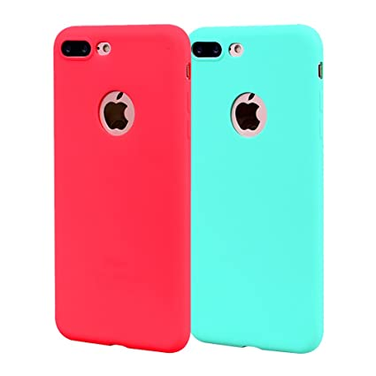 Funda iPhone 8 Plus, Carcasa iPhone 8 Plus Silicona Gel, OUJD Mate Case Ultra Delgado TPU Goma Flexible Cover para iPhone 8 Plus - Cielo azul + rojo