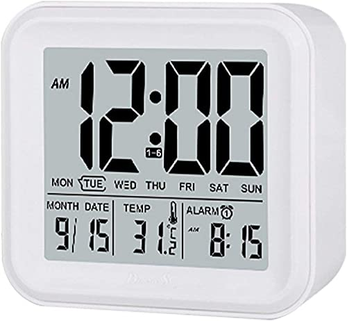 Digital Nightlight Alarm Clock, Bulit-in Light Sensor, MythGeek Digital Alarm Clock Large Display Time Date Alarm Snooze Temperature, 3 Weekday Alarm Setting White