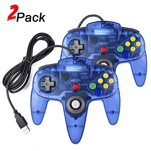 2 Pack N64 USB Controller, miadore USB Retro N64 Gamepad Joystick Raspberry Pi Controller for Windows PC MAC Linux (Clear Blue) 98 Nintendo 64 N64 Game