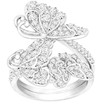 Finecraft Butterfly Swing Ring with Cubic Zirconia in Sterling Silver-Plated Brass