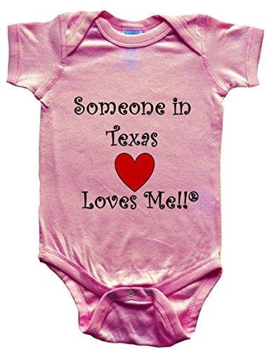 SOMEONE IN TEXAS LOVES ME - TEXAS BABY - State-series - Pink Baby One Piece Bodysuit - size - Women Lubbock In