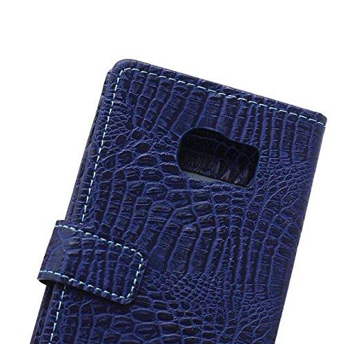 JIALUN-Personality teléfono shell Samsung S6 borde de la caja, caso del estilo del monedero del patrón de color sólido diseño magnético flip folio PU funda de cuero funda para Samsung S6 edge Segurida Blue
