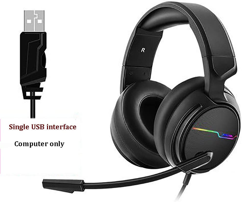 Computer,3.5+USB sendadapter JXH Gaming Wired USB Gaming Headset,with 2 Meter Cable and Noise Cancelling Mic and Memory Foam Ear Pads RGB Light for Laptops