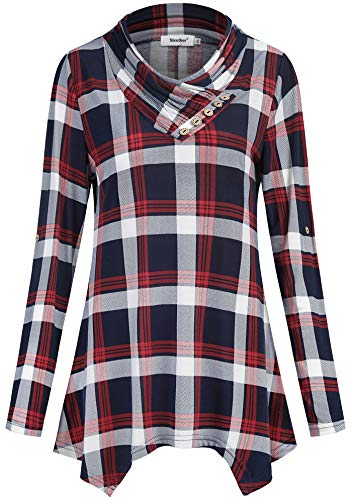 Sixother 3/4 Length Fall Tops for Women, Boho Style Denim Peasant Blouse Juniors Red Slimming Fit Empire Waist Knit Tunic to Wear with Leggings for Work Daily Wear 2XLarge - Empire Waist Sweater