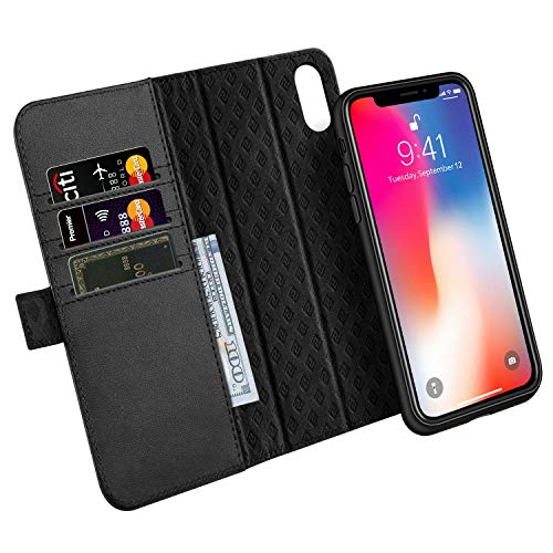 (Zover Compatible with iPhone Xs/X Case Detachable Genuine Leather Wallet Case Support Wireless Charging Magnetic Car Mount Holder RFID Blocking Kickstand Feature Magnetic Closure Gift Box Black)