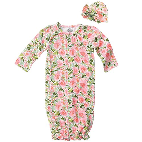 Set Gown Convertible (Mud Pie Baby Girls Floral Convertible Sleepgown and Hat Set, Pink, 0-3 Months)