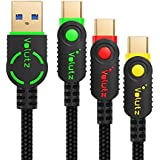 USB Type-C Cable 3.0 USB-A to Type-C In Assorted Lengths (3-Pack; 6.5ft, 3.3ft, 1ft) Braided & Gold-Plated Connectors Volutz Equilibrium+ Series (Color-coded)