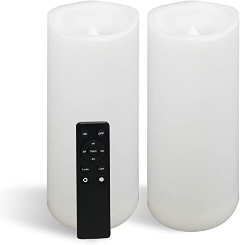 2 Large Outdoor Waterproof Battery Operated Flameless Candles Remote Timer 4 D x10 H Big White Plastic Resin Bright Flickering Electric LED Pillar Lantern Patio Garden Home Wedding Party Decoration