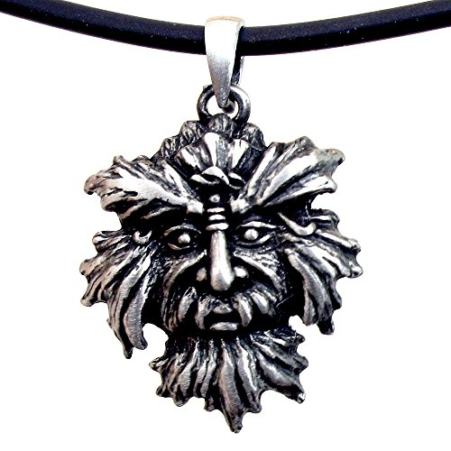 Silver Green Pendant Man (OhDeal4U Greenman Pagan Celtic Green man silver pewter pendant w Black PVC Necklace (#01))