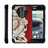 LG Escape 3 | K8 | Phoenix 2 Case Case | Dual Layer Hard Rubber Phone Case with Kickstand Baseball Series, by Miniturtle® - White and Red Ball