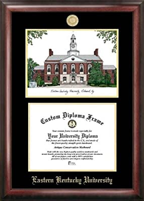 """Campus Images """"Eastern Kentucky University Embossed Diploma"""" Frame with Lithograph Print, 8.5"""" x 11"""", Gold"""