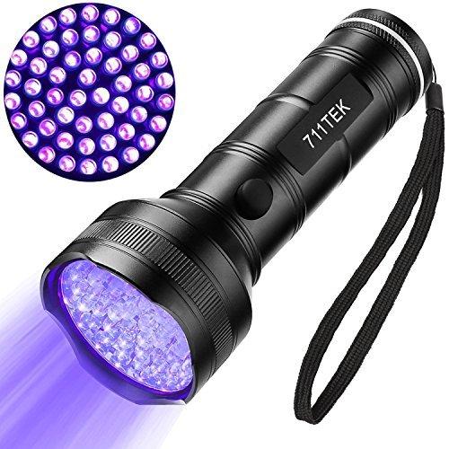 711TEK - Linterna ultravioleta con luz negra, 51 ledes 395 nm para orina de perro, manchas para mascotas y chinchetas