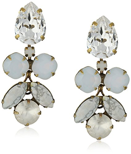 Sorrelli ''Pearl Luster'' Crystal Lotus Flower Drop Earrings by Sorrelli