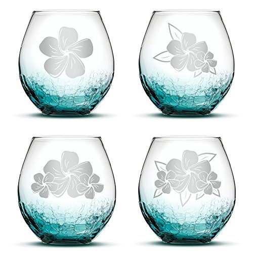Set of 4, Plumeria Stemless Wine Glasses, Crackle Teal, Made in USA, Hand Etched Gifts, Sand Carved by Integrity Bottles
