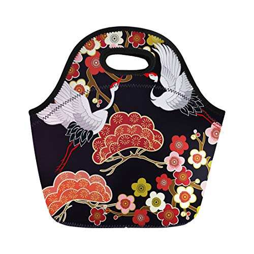 Blue Heron Bags - Semtomn Lunch Tote Bag Blue Flying Birds Crane Heron Japanese Pattern Oriental Motifs Reusable Neoprene Insulated Thermal Outdoor Picnic Lunchbox for Men Women