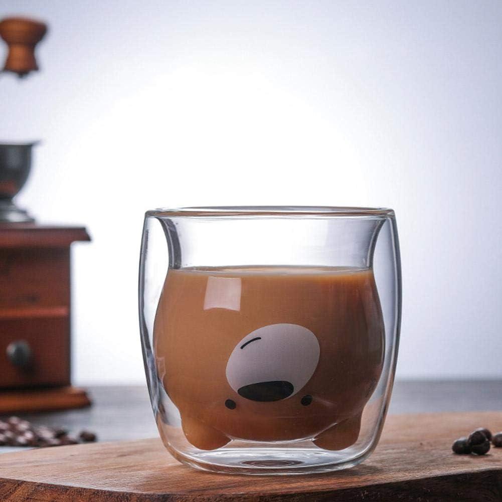 Basisag Tasse Double Paroi,Tasse Double Paroi Verre Mug Verre Caf/é Borosilicate avec Poign/ée pour Th/é Cappuccino Lait Jus Va Au Lave-Vaisselle