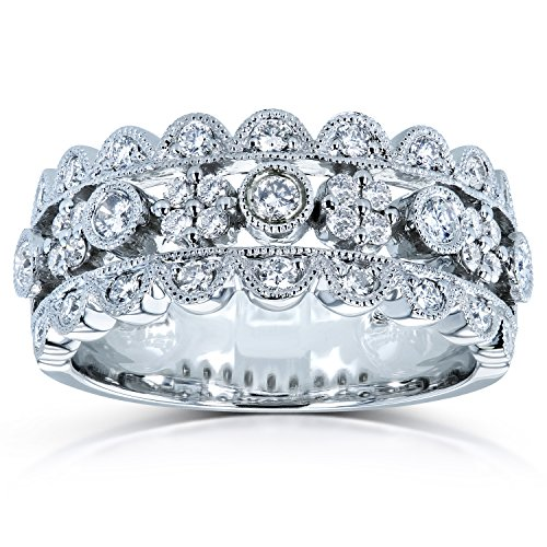 Diamond Wide Band Anniversary Ring 1/2ct TW in 10k White Gold, 10