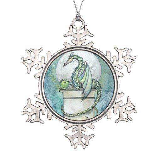 Follies Christmas Green Dragon Fantasy Art Snowflake Pewter Christmas ()