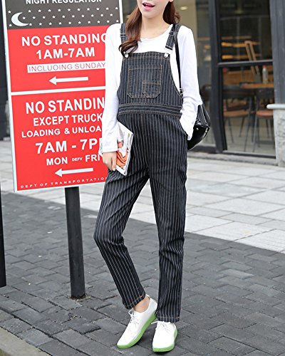 Cihui Premaman Gestreifte Jeans Denim Nero Donne Elegante Pantaloni Monopezzi Lunga Salopette rnArfq