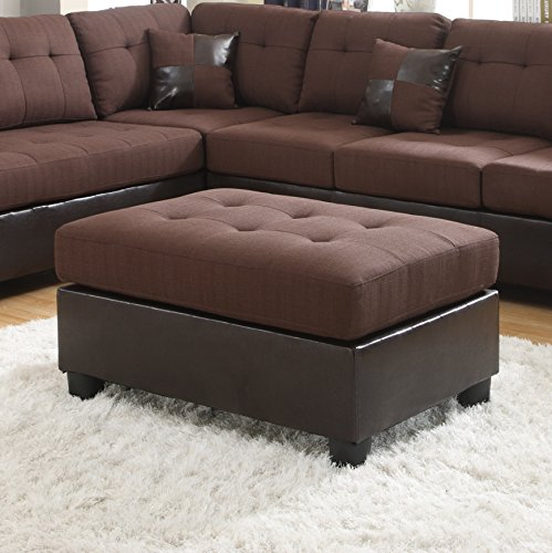 Roundhill Furniture Ellus Fabric and Faux Leather Ottoman, Brown
