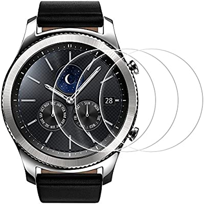 AFUNTA Screen Protector Compatible Samsung Gear S3, Frontier and Classic, 3 Pack Tempered Glass Film Anti-Scratch High Definition Cover Compatible ...