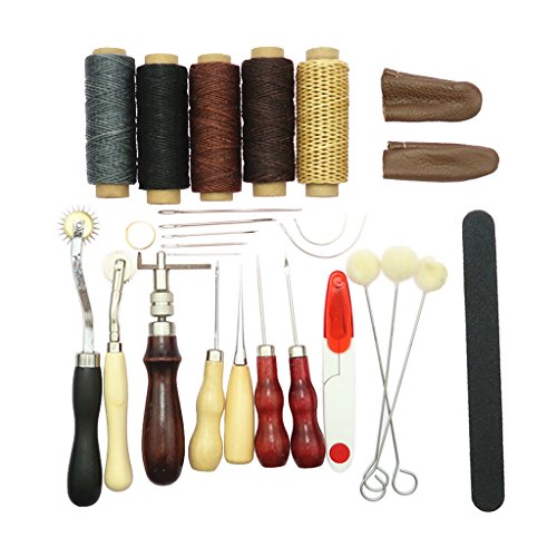 Flameer 27Pcs leathercraft Tools DIY Hand Stitching Kit for Sewing Leather, Canvas or Other Leather Crafts Projects by Flameer