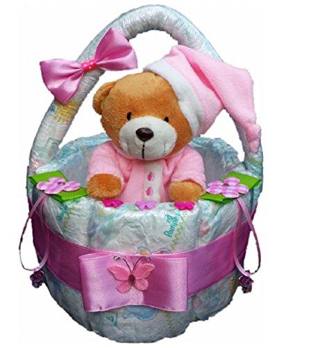 Windeltorte, Korb aus Windeln rosa, Geburt, Taufe, Geschenk für Mädchen, Baby Party, Pampers Gr.3, Kuscheltier-Bär Kuscheltier-Bär